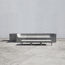 户外水泥沙发-石   户外椅