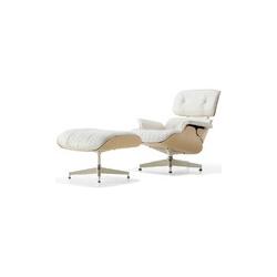 白色伊姆斯休闲躺椅含脚踏 伊姆斯夫妇  Charles & Ray Eames 伊姆斯夫妇