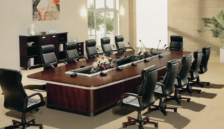 Solid Wood Conference Table会议台行政会议台会议桌行政会议桌CG - Multimedia conference table