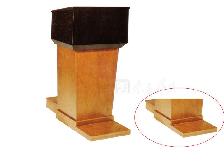 上图为演讲台的正面和背面的展示图,以及功能结构展示,独特的造型设计,选配话筒等配件,主体佐以双色组合。 实木系列家具使用保养说明: 1、请避免将家具放置于阳光直射及潮湿处; 2、请勿使用酒精清洁污渍,防止产品过老化; 3、以鲜奶擦拭您的家具,可使其更加光泽柔润; 4、如您的家具沾有下列物质时,请依法清除: 油渍:先以温肥皂水擦拭,再用橡皮擦掉即可; 圆珠笔油:以橡皮擦擦掉即可; 啤酒、苏打、咖啡:先以温水擦干后,再用水擦净即可; 口香糖:先以冰块使其凝固后拿掉即可; 奶油:先以干布吸干后,再以少许清洁