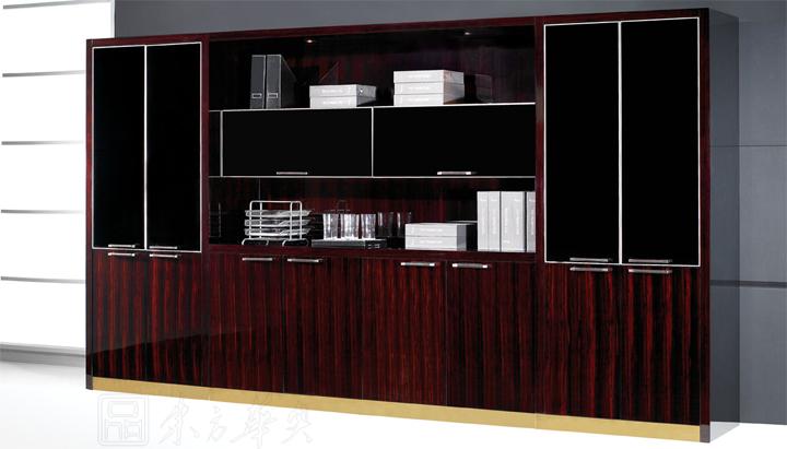 系列配套文件柜,顶级黑檀木,304拉丝不锈钢皮革拉手,阻尼门